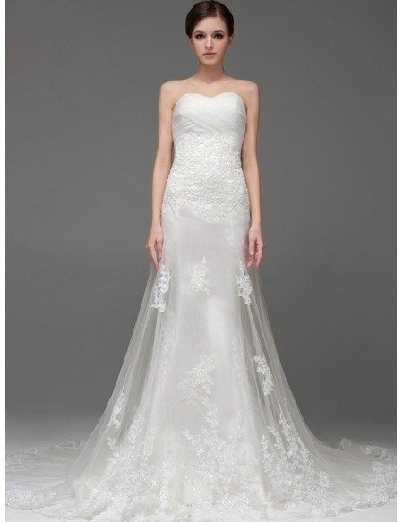 Pleated Sweetheart High End Custom Lace Wedding Dress with Tulle