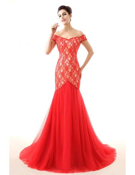 Mermaid Off-the-Shoulder Sweep Train Lace Prom Dress