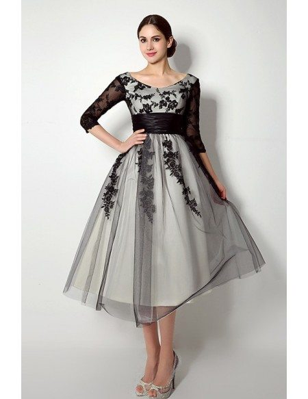 Short Scoop Long-sleaves Tea-length Dresses With Lace
