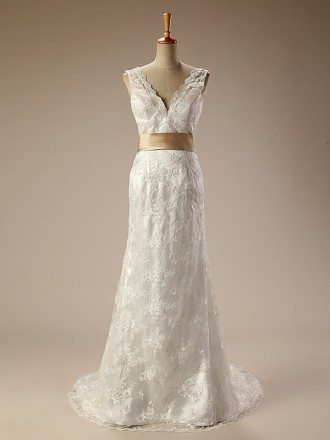 Long V-neck Lace Wedding Dress with Bow Knot in Back