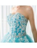 Blue Long Tulle Lace Strapless Ballgown Wedding Dress