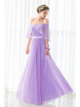 Off the Shoulder Purple Long Chiffon Elegant Bridesmaid Dress