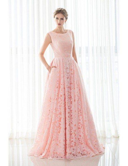 A-line Pink Scoop Neck Lace Long Formal Dress
