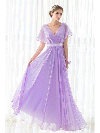 V-neck Purple Long Chiffon Elegant Bridesmaid Dress