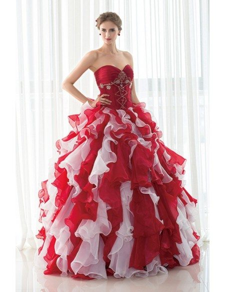 Sweetheart Beaded Red and White Quinceanera Dress with Jacket