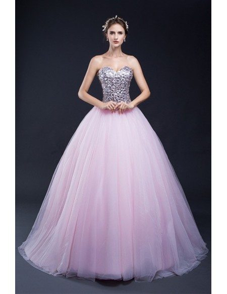 Ballgown Sparkle Sequins Pink Tulle Party Dress