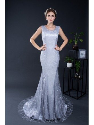 Elegant Mermaid Beaded Long Grey Evening Dress