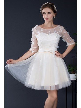 Champagne Short Tulle Bridal Party Dress with Half Sleeves