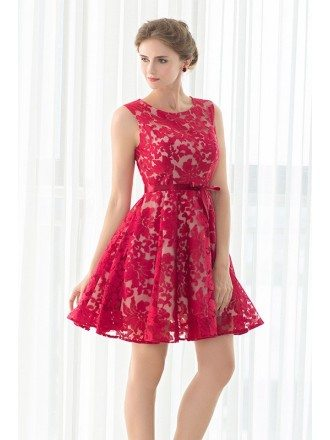 Fuchsia Embroidered Short Bridal Party Dress