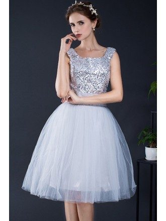 Silver Sequins Short Tulle Party Dress