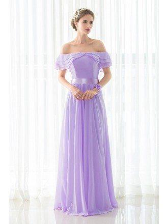 Stylish Purple Long Chiffon Off Shoulder Bridesmaid Dress