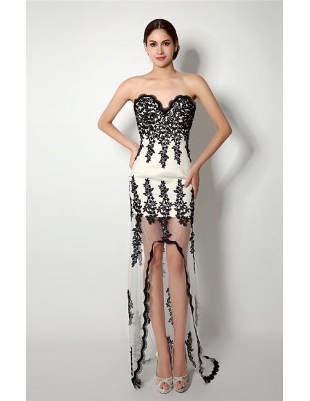 Sheath Sweetheart Asymmetrical Dress with Lace
