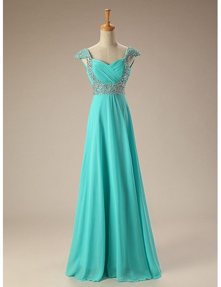 Sequined Cap Sleeves Long Chiffon Prom Dress