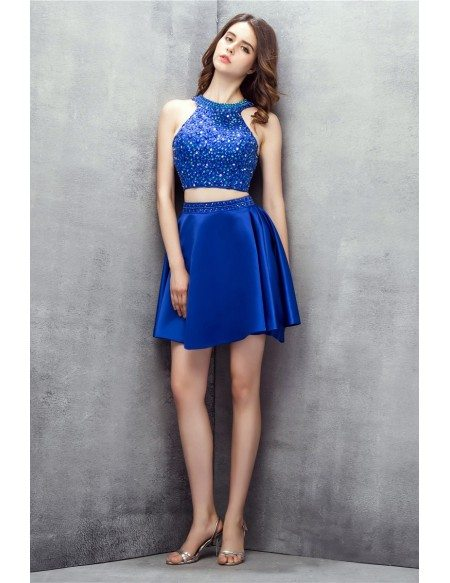 Bling Sequins Royal Blue Two Pieces Satin Short Prom Dress