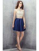 Beaded High Neck Co-ord Mini Prom Dress