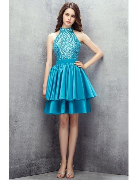 Beaded Short Halter Pool Prom Dress