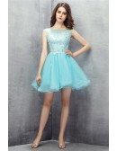 Cute Sky Blue Tulle Short Prom Dress