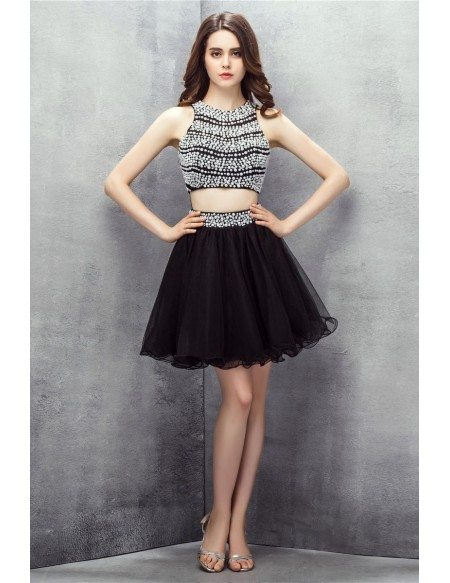 Chic Black and White Co-ord Beaded Pearls Short Tulle Prom Dress