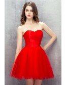 Red Sweetheart Mini Short Tulle Prom Dress