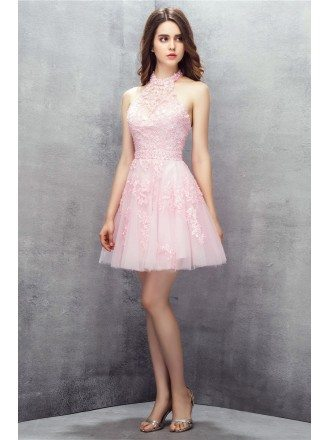 Pink Short Halter Lace Tulle Prom Dress