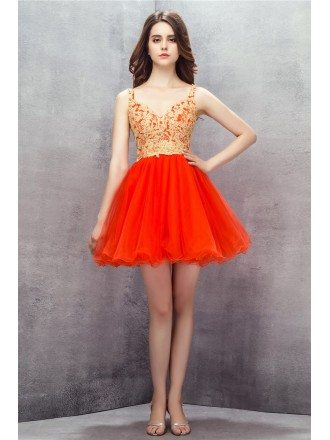 Orange Embroidered Spaghetti Straps Short Tulle Prom Dress