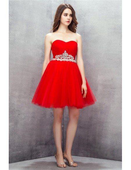 Sweetheart Red Beaded Short Tulle Prom Dress