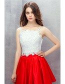Red and White Spaghetti Straps Short Lace Prom Dress