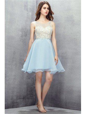Sky Blue Beaded Organza Short Prom Dress
