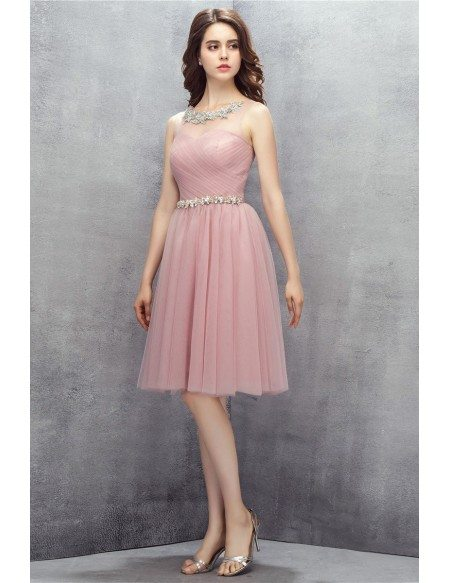 Pleated Pink Tulle Short Party Dress