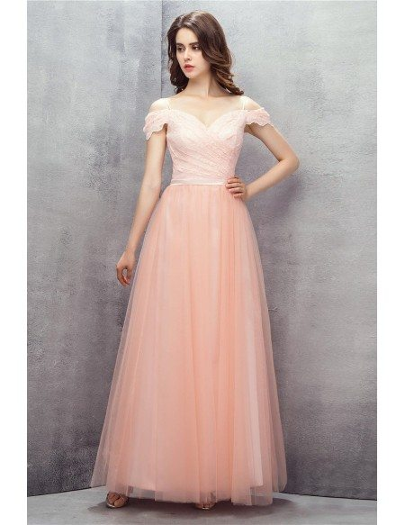 Off Shoulder Long Tulle Pink Party Dress