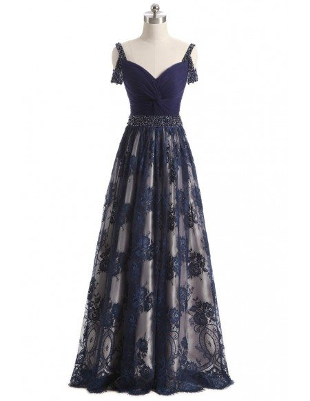 Beaded Lace Navy Blue Long Occasion Dress