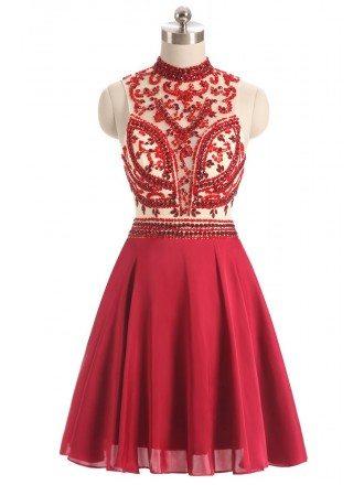 Burgundy Red Beaded Short Halter Chiffon Prom Dress