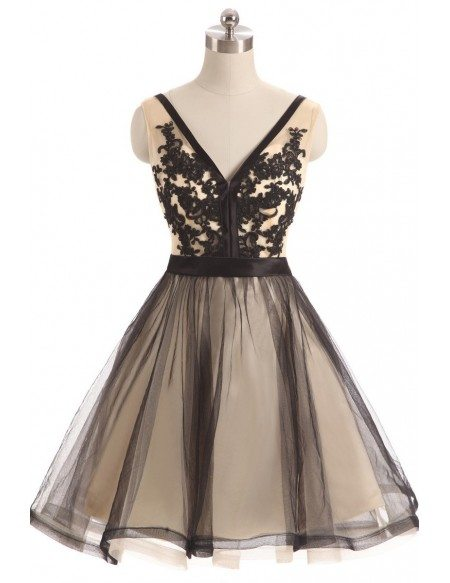 Black Tulle Lace V-neck Short Prom Dress
