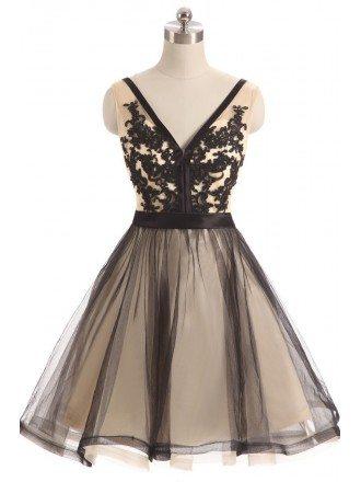 Black Tulle Lace V-neck Short Prom Dress