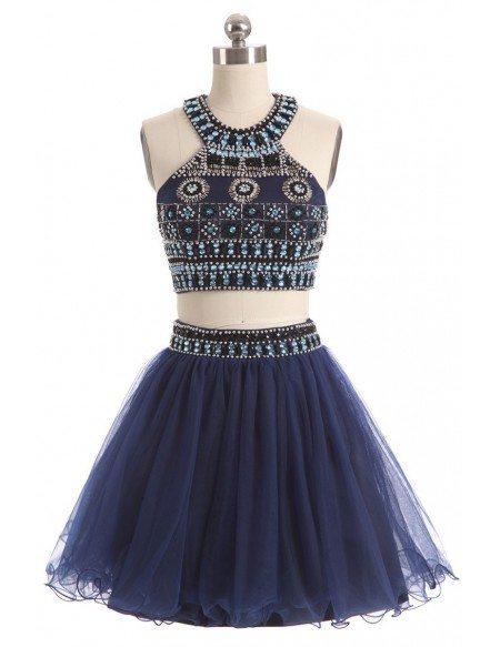 Beaded Short Halter Two-piece Blue Prom Dress