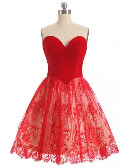 Red Lace Sweetheart Cocktail Short Party Dress