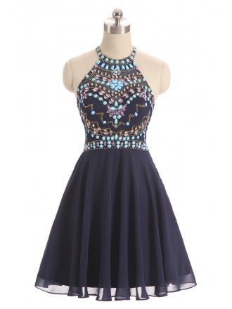 Colorful Beaded Short Halter Chiffon Prom Dress