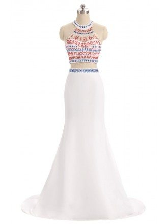 Colorful Beaded Long Halter Two-piece White Prom Dress