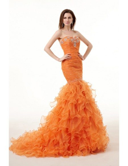 Mermaid Sweetheart Sweep Train Tulle Prom Dress With Cascading Ruffles Beading