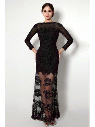 Sheath Scoop Long-sleeves Floor-length Prom Dress