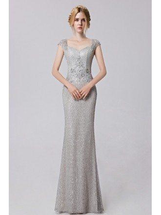 Cap Sleeved Silver Sequined Mermaid Floor Length Evening Dress