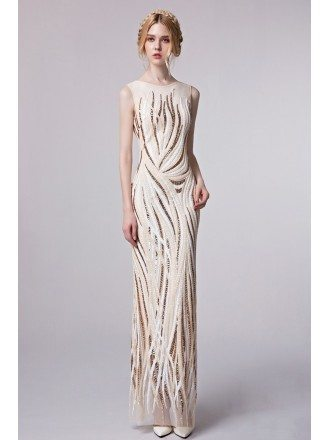 Unique High Neck Sequined Floor Length Fitted Evening Dress