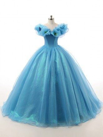 Ball-Gown Off-the-Shoulder Sweep Train Tulle Prom Dress With Ruffles