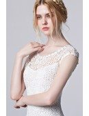 White Lace Knee Length Cutout Elegant Dress with Cap Sleeves