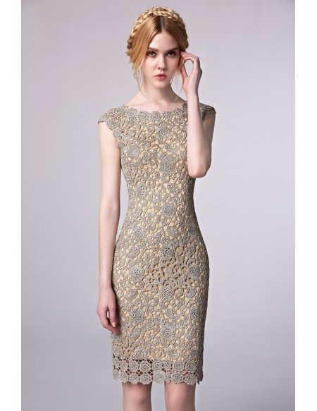 Sheath Fitted Lace Cutout Short Party Dress with Cap Sleeves