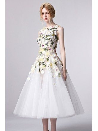 Gorgeous Floral Appliqued Tea Length Tulle Party Dress