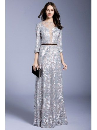 Silver A-line Scoop Neck Floor-length Evening Dress With Sequins