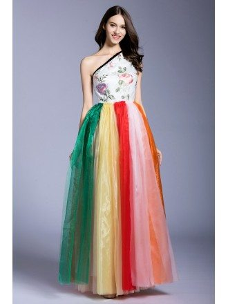 Colorful A-line One-shoulder Embroidery Floor-length Prom Dress