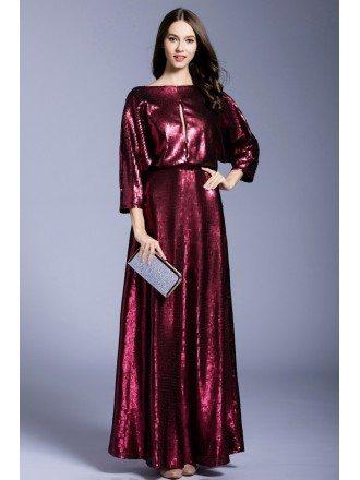 A-line Scoop Neck Sequined Floor-length Evening Dress