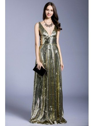 Gold A-line V-neck Sequined Floor-length Evening Dress
